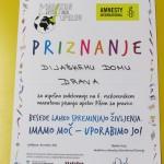 Priznanje Amnesty International dijaškemu domu Drava